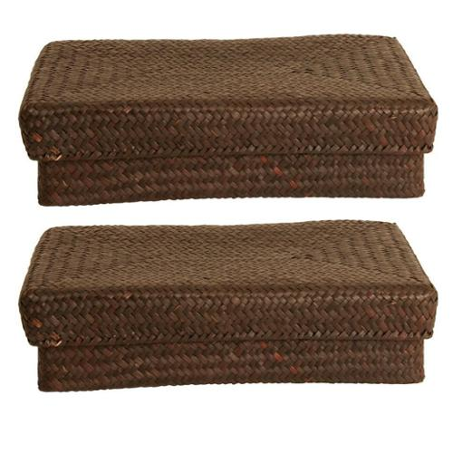 Wald Imports Espresso Seagrass-reed Basket with Lid (set of 2)