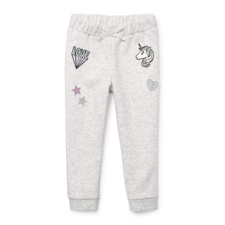 Baby And Toddler Girls Active Glitter Patch Fleece Jogger Pants