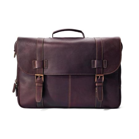 Winn Interntional 2422 Harness Cowhide Colombian Leather Traditional Flap-Over Laptop Briefcase - (Top Flap Portfolio Briefcase)