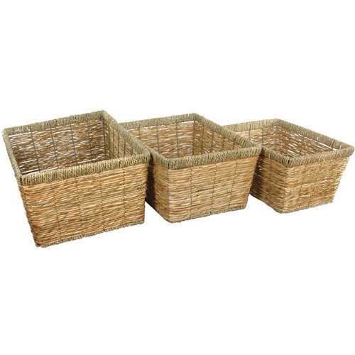 Oriental Furniture 3 Piece Hand Woven Storage Basket Set