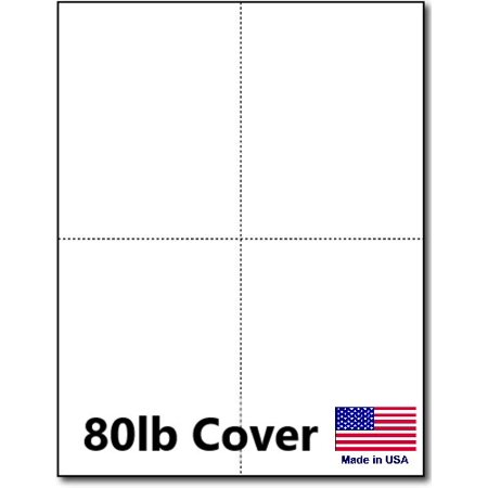 hamilco white cardstock thick paper 8 1 2 x 11 perforated 4 up