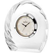 Bulova Corinth Executive Crystal Desk Clear Clock - Black Hands - White Dial - B6856