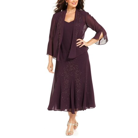 R&M Richards Women's Plus Size Beaded Jacket Dress - Mother of the Bride Dresses