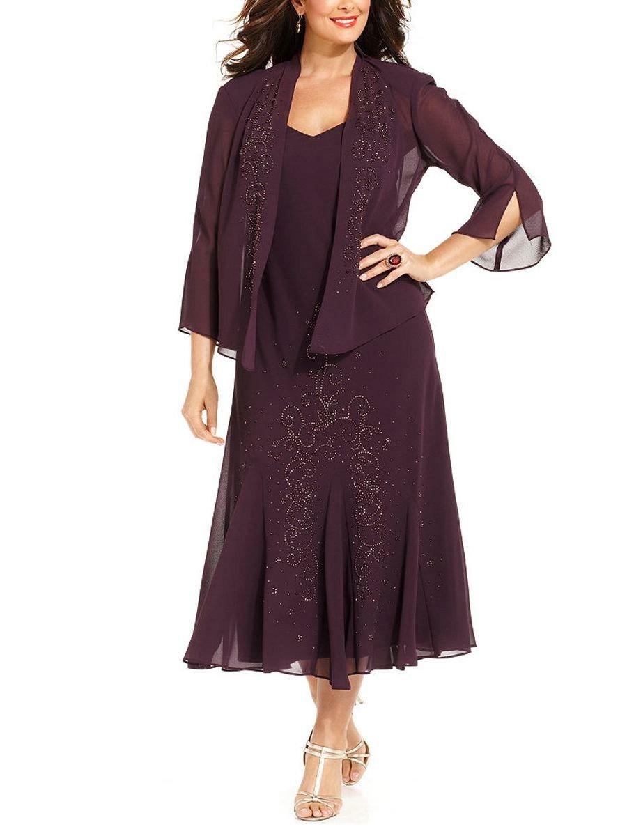R&M Richards Women's Plus Size Beaded Jacket Dress - Mother of the Bride Dresses