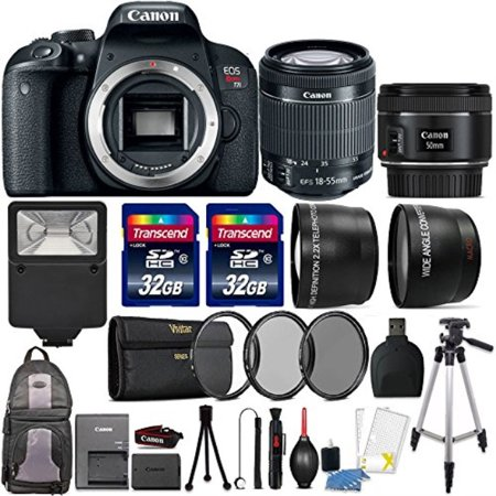 Canon EOS Rebel T7i 24.2MP DSLR Camera with 18-55mm 50mm 1.8 STM and 64GB Accessory Kit