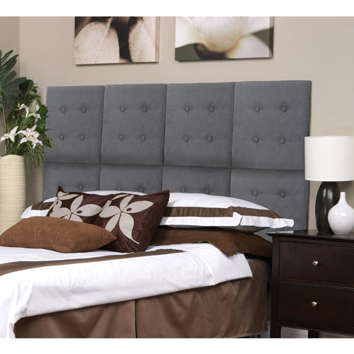 Kiera Grace Luxe Set of 8 Upholstered Headboard Wall Panels with Tufted Buttons, Grey Faux Suede