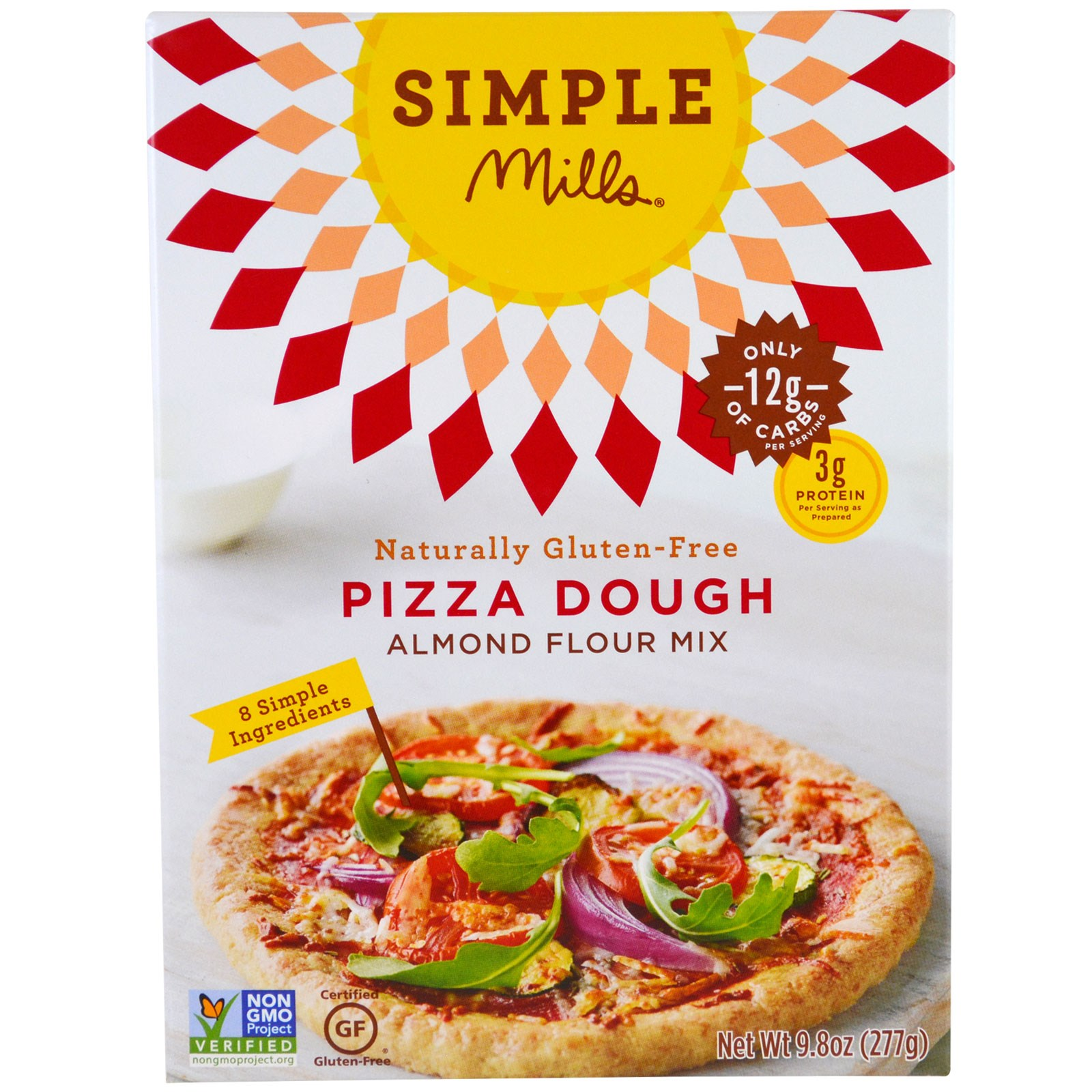 Simple Mills, Naturally Gluten-Free, Almond Flour Mix, Pizza Dough, 9.8 oz (pack of 4)