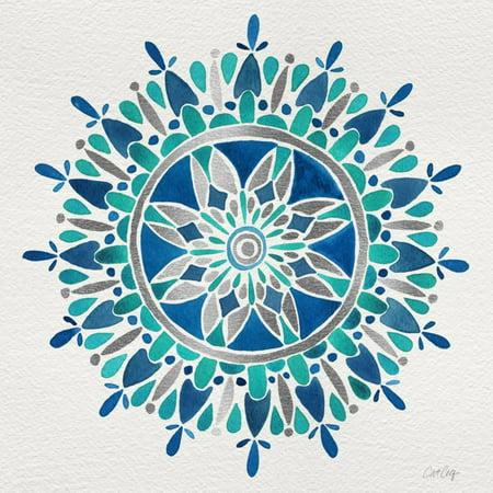 Mandala in Silver and Blue Circle Abstract Pattern Bohemian Print Wall Art By Cat