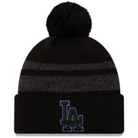 Los Angeles Dodgers New Era Dispatch Cuffed Knit Hat With Pom - Black - OSFA
