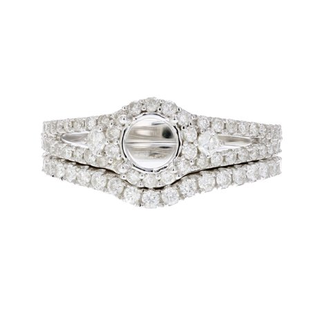 2/3 CT Diamond Semi Mount Bridal Set Prong Set in Sterling Silver Size 7 ()