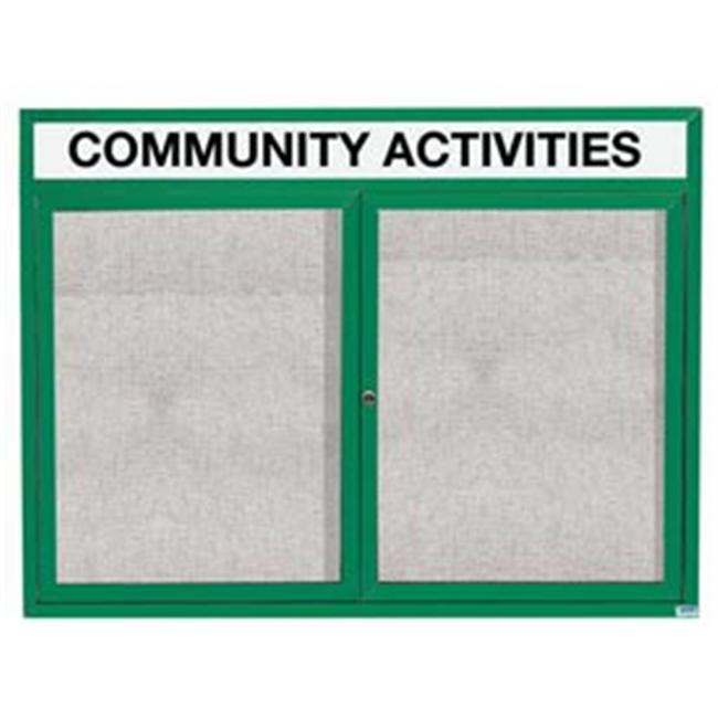 Aarco Products ODCC3648RHIG 48 inch W x 36 inch H Illuminated Outdoor Enclosed Bulletin Board - Green