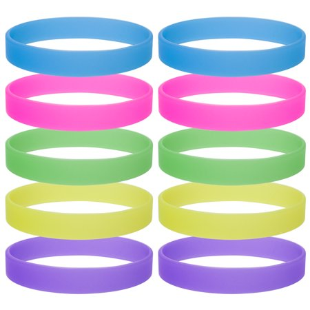 Wholesale Glow-in-the-Dark Silicone Wristbands Party Favor Adult Rubber Bracelets 10 PCS / Pack-Assorted-12packs (Rubber Glow In The Dark Bracelets)