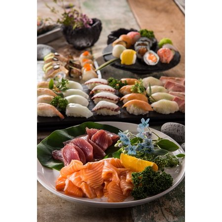 LAMINATED POSTER Sushi Plate Salmon Restaurants Eat Delicious Food Poster Print 11 x
