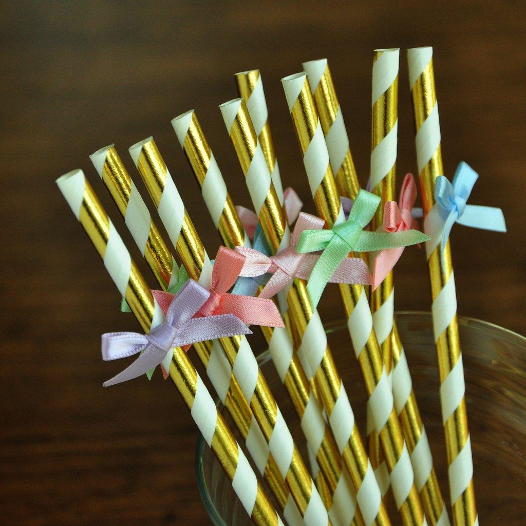 Rainbow Birthday Party Supplies. Unicorn Straws. Unicorn Gold Straws with Bows. 10CT.