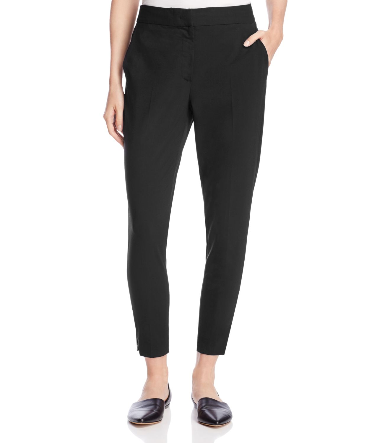 DKNY New Deep Black Womens Size 4 Tailored Relaxed Cropped Wool Pants by Dkny