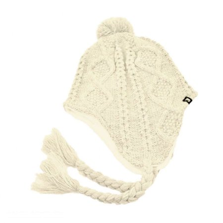 Cable Knit Peruvian Beanie Hat - ONE SIZE FITS MOST - Off White