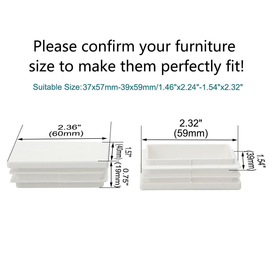 12pcs 40 x 60mm Plastic Rectangle Ribbed Tube Inserts End Cover Cap Table Feet - image 2 de 7