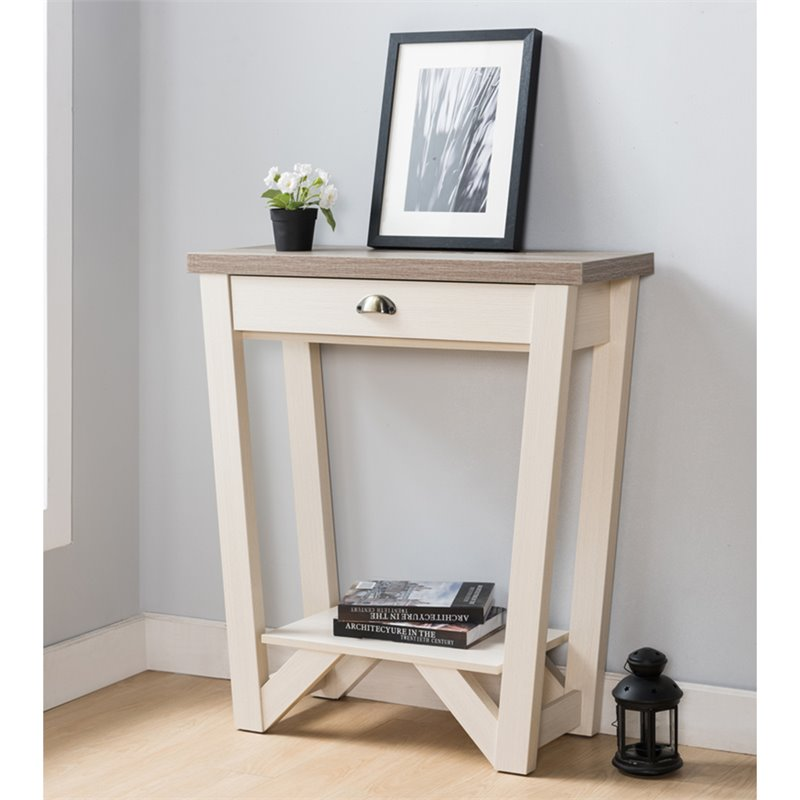 Surprising Furniture Of America Iga 1 Drawer Console Table In Ivory And Light Oak Gmtry Best Dining Table And Chair Ideas Images Gmtryco