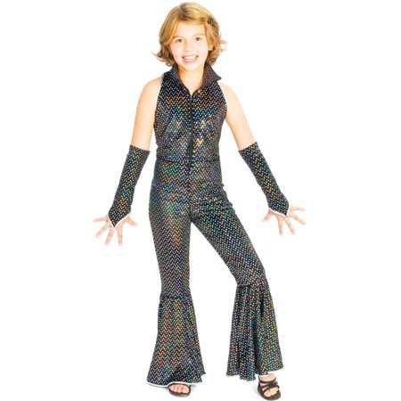 Boogie Girl Black Sequin Disco Jumpsuit Kids Costume ...