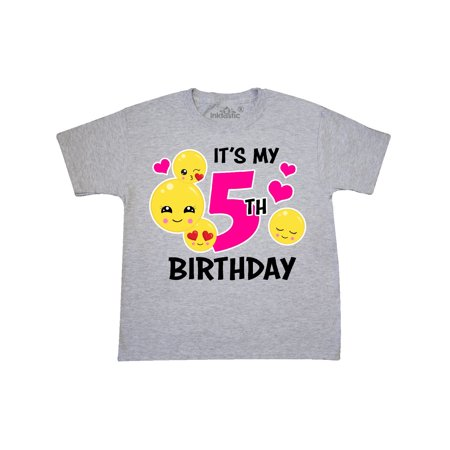 Its My 5th Birthday With Emojis Youth T Shirt