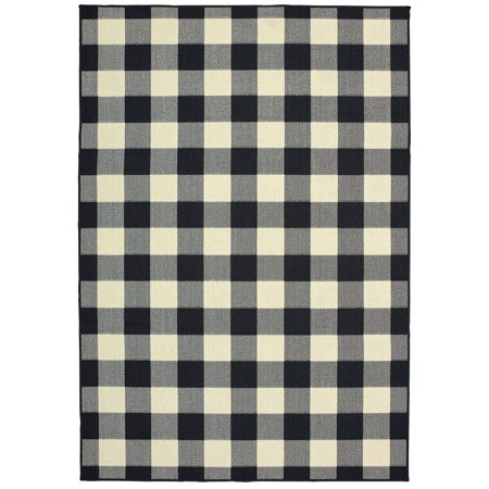 Moretti Parker Area Rugs - 1932K Contemporary Black Plaid Country Flannel Cowboy Rug