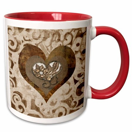 3dRose Beautiful Flower with Gem in a Heart, Earth Tones and Metal Look - Two Tone Red Mug,