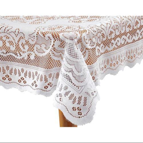 """WalterDrake 60"""" x 84"""" Oblong  White Fleur de Lis Lace Tablecloth"""