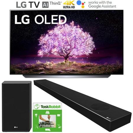LG OLED65C1PUB 65 Inch 4K Smart OLED TV with AI ThinQ (2021 Model) Bundle with LG SP9YA 5.1.2 ch Sound Bar w Dolby Atmos & works with TaskRabbit Installation Services