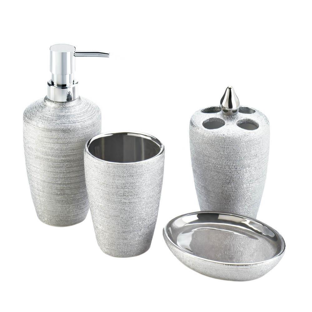 Bath Hand Soap Dispenser, Silver Shimmer 4-piece Ceramic Bath Set Accessories by Accent Plus