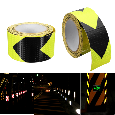 1Pcs 30cm/3m/5m Waterproof PVC Reflective Safety Warning Conspicuity Reminder Safety Tape Tape Sticker Roll Film Trailer Width: 5cm