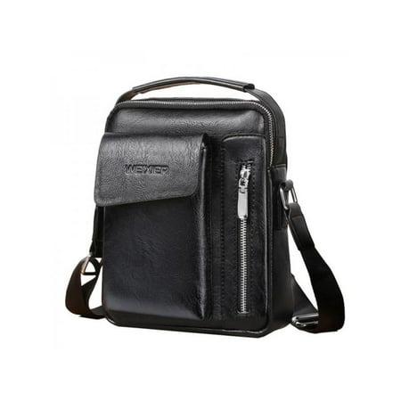 Topumt Men Vintage PU Leather Multi-Function Business Casual Shoulder Crossbody Bag Briefcase Handbag Business Casual Handbags