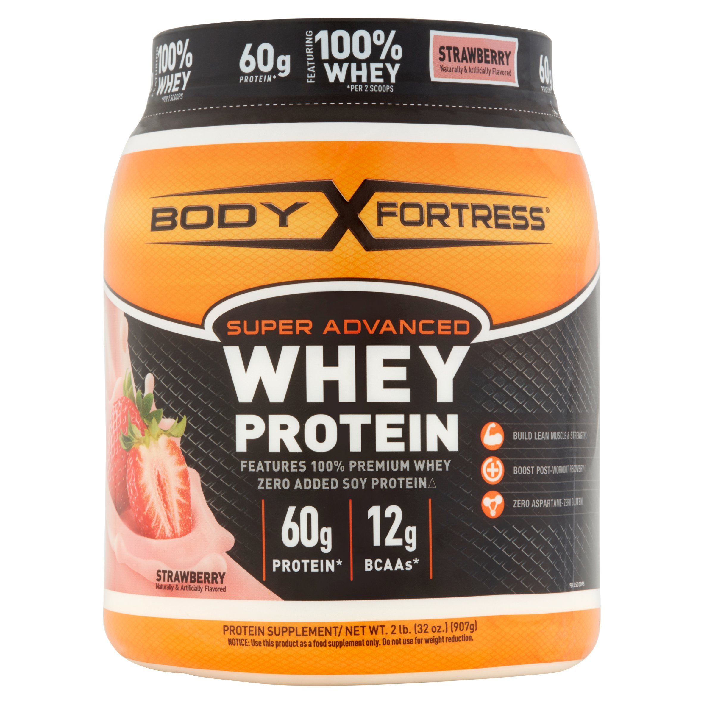 Body Fortress Super Advanced Whey Protein Powder, Strawberry, 60g Protein, 2 Lb