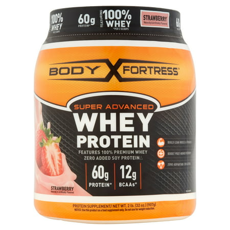 Body Fortress Super Advanced Whey Protein Powder, Strawberry, 60g Protein, 2