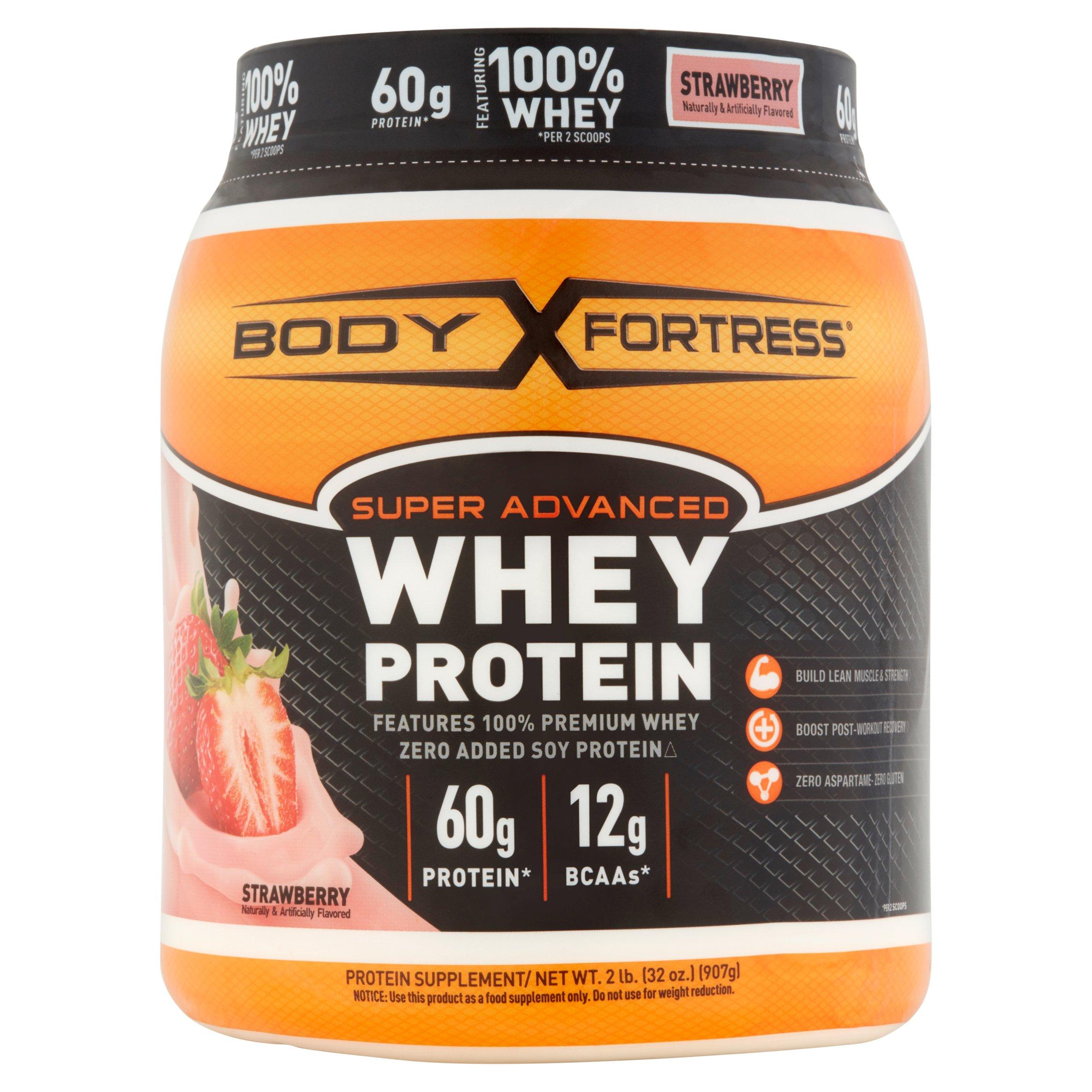 Body Fortress Super Advanced Whey Protein Powder, Strawberry, 60g Protein, 2 Lb