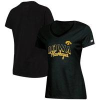 Women's Russell Athletic Black Iowa Hawkeyes Arch V-Neck T-Shirt