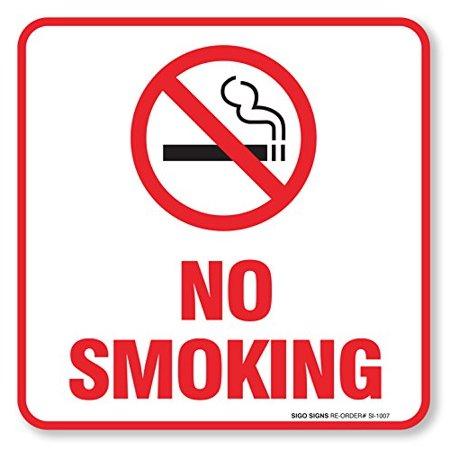 "(4 Pack) No Smoking Sign Self Adhesive "" 5½ X 5½"" 4 Mil Vinyl Decal - Indoor & Outdoor Use - UV Protected & Waterproof - Sleek, Rounded Corners"