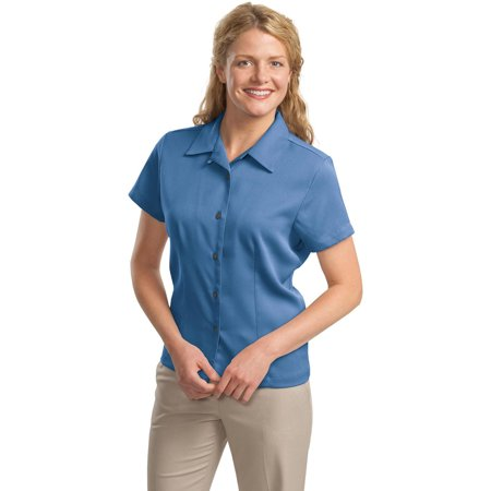 Port Authority L535 Ladies Camp Shirt - Blue - X-Small