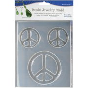 "Resin Jewelry Reusable 3-Cavity Plastic Mold, Peace Symbols, 4-3/4"" x 7"""