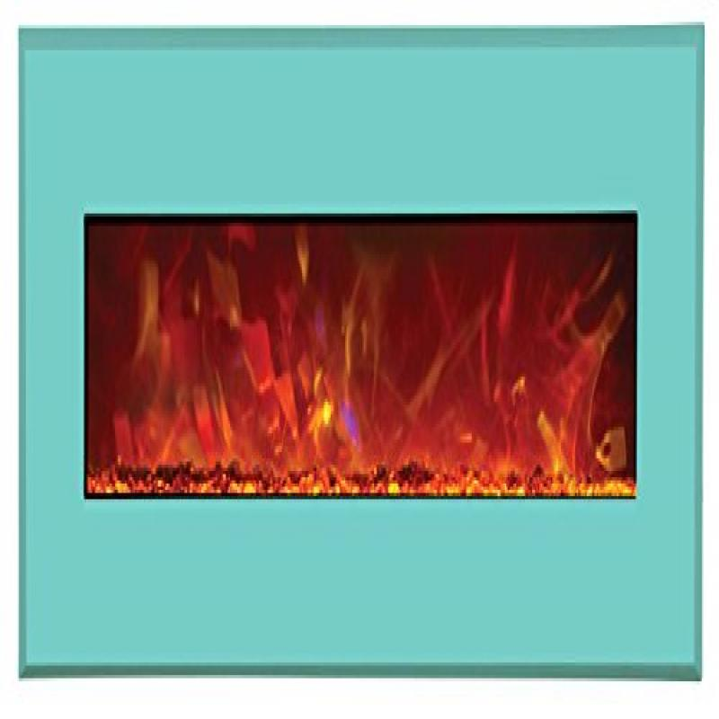 "43"" Electric Unit Fireplace 51"" x 23"" Coastal Blue Steel Surround"