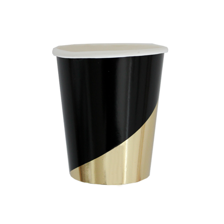 Harlow & Grey, Noir Black and Gold Foil Colorblock Paper Cups, 9 oz, 8 Count](Black Cups)