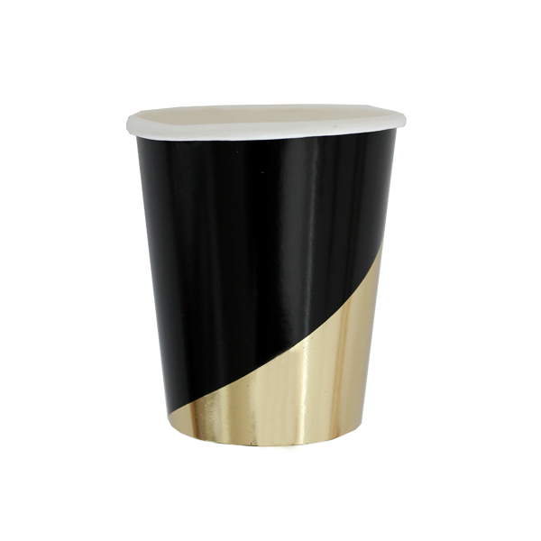 Harlow & Grey, Noir Black and Gold Foil Colorblock Paper Cups, 9 oz, 8 Count