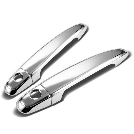 For 05-11 Toyota Tacoma 2pcs Exterior Door Handle Cover with Passenger Keyhole (Chrome) 06 07 08 09 10 08 Chrome Door Pillars Posts
