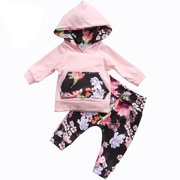 2PCS Baby Girls Floral Hoodie Outfits Long Sleeve Pocket Jumper Top with Pant Clothing Set 0-6 Months