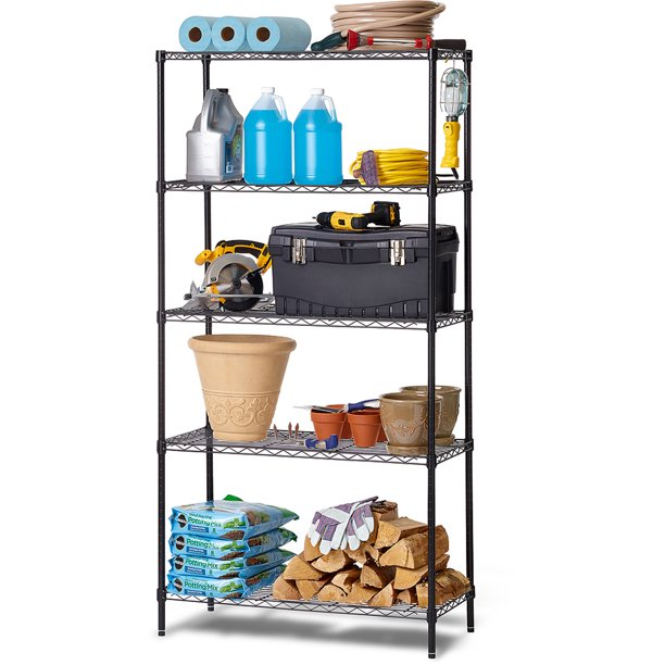 Work Choice 5-Tier Commercial Wire Shelving Rack, Black