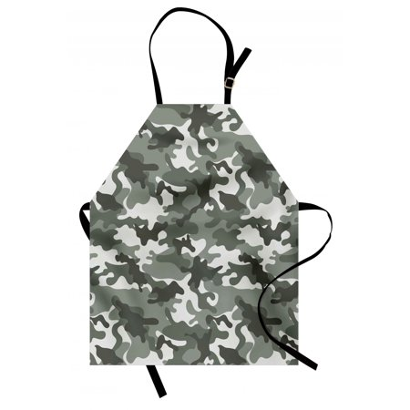 Como Kitchen - Camouflage Apron Monochrome Attire Pattern Camouflage inside Vegetation Fashion Design Print, Unisex Kitchen Bib Apron with Adjustable Neck for Cooking Baking Gardening, Grey Coconut, by Ambesonne
