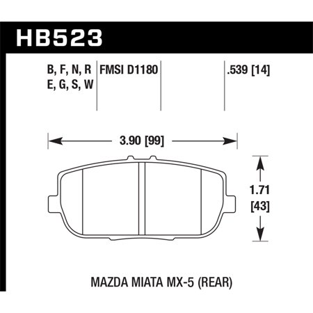Hawk 2006-2006 Mazda MX-5 Miata Club Spec HPS 5.0 Rear