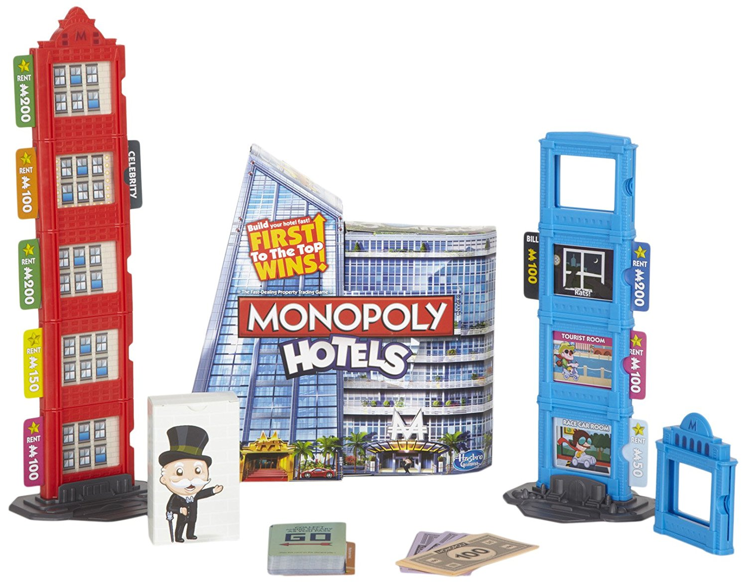 Monopoly Hotels Game, Collect rent on rooms on each floor of your hotel By Hasbro by