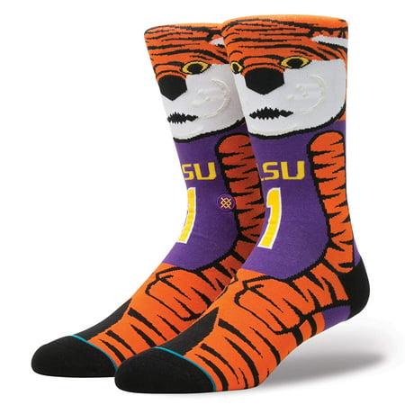 Mike The Tiger Lsu - Stance Men's LSU Mike The Tiger Mascot Crew Socks Purple Orange