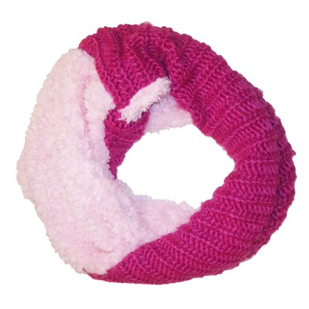 Pink Faux Fur Cable Knit Infinity Loop Scarf One Size](Harry Potter Infinity Scarf)