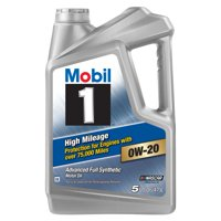 Mobil 1 High Mileage Full Synthetic Motor Oil 0W-20, 5 qt.